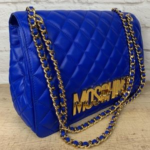 Moschino Couture Large Blue Quilted Shoulder Bag